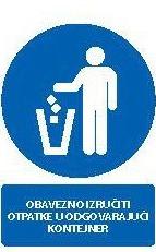 Znak Obavezno odložiti otpatke u odgovarajući kontejner